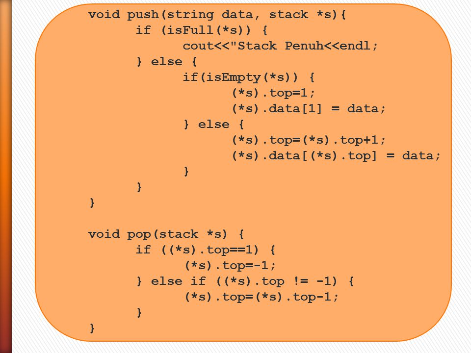 void push(string data, stack *s){