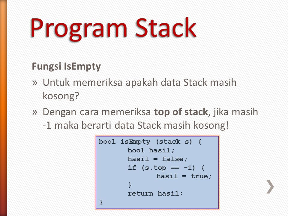 Program Stack Fungsi IsEmpty