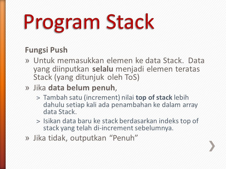 Program Stack Fungsi Push