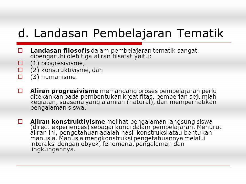 d. Landasan Pembelajaran Tematik