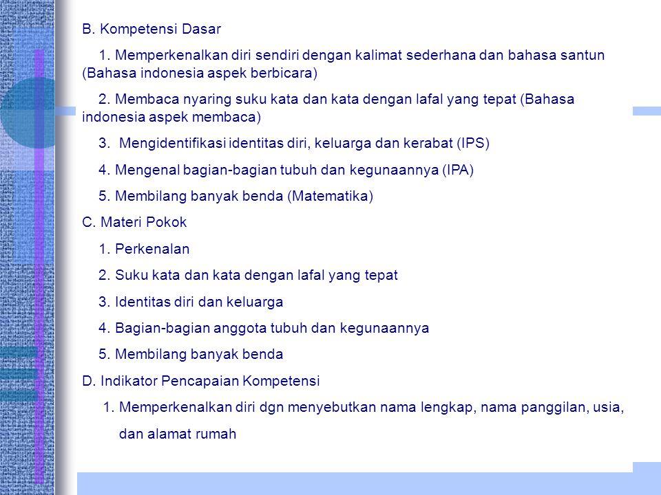 B. Kompetensi Dasar 1. Memperkenalkan diri sendiri dengan kalimat sederhana dan bahasa santun (Bahasa indonesia aspek berbicara)