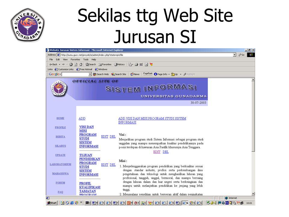 Sekilas ttg Web Site Jurusan SI