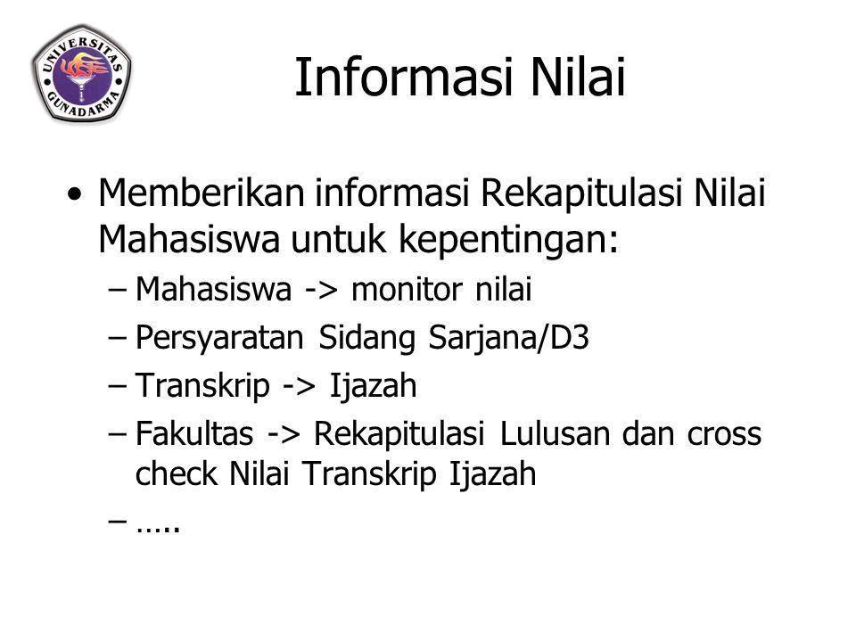 Informasi Nilai Memberikan informasi Rekapitulasi Nilai Mahasiswa untuk kepentingan: Mahasiswa -> monitor nilai.