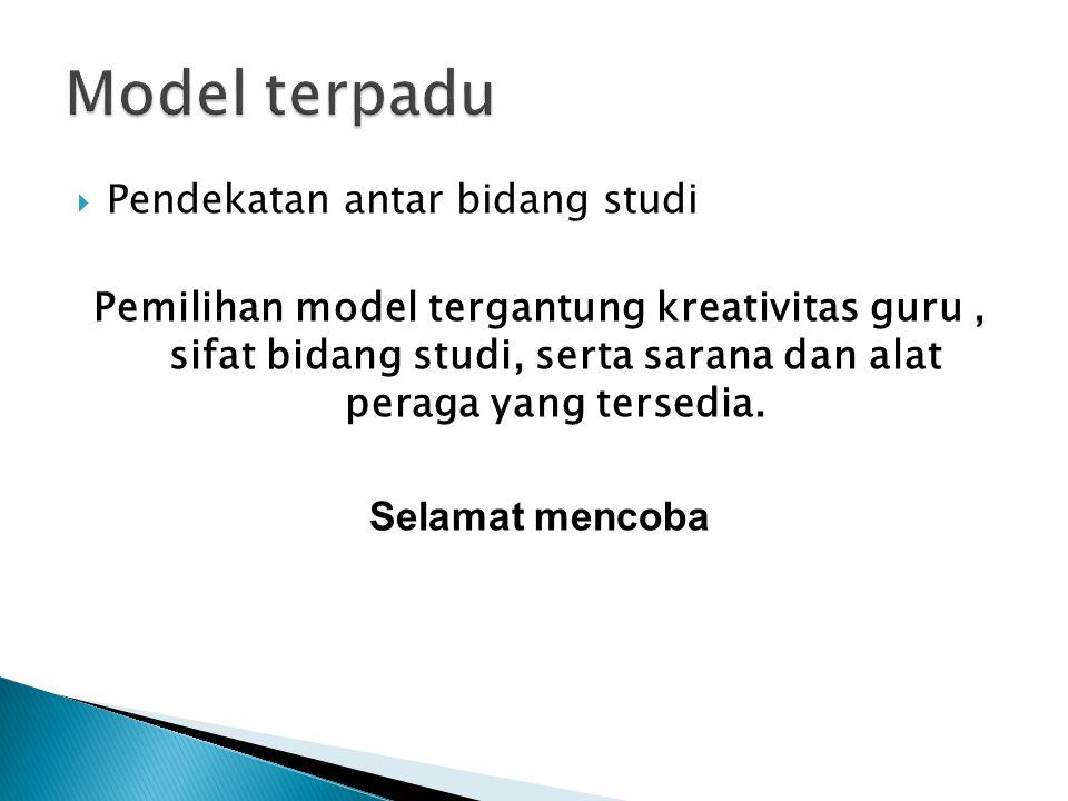 Model terpadu Pendekatan antar bidang studi