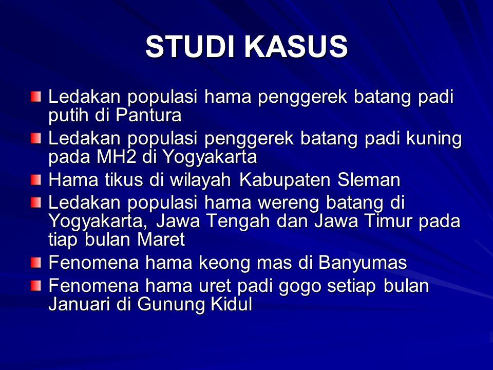 STUDI KASUS Ledakan populasi hama penggerek batang padi putih di Pantura. Ledakan populasi penggerek batang padi kuning pada MH2 di Yogyakarta.