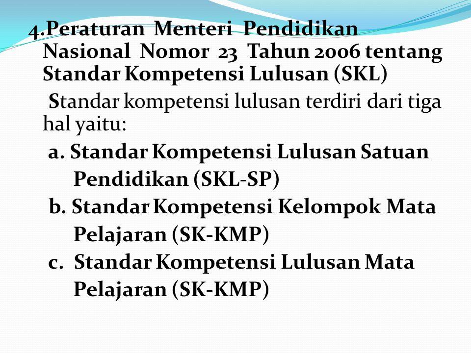 4.Peraturan Menteri Pendidikan Nasional Nomor 23 Tahun 2006 tentang Standar Kompetensi Lulusan (SKL) Standar kompetensi lulusan terdiri dari tiga hal yaitu: a.