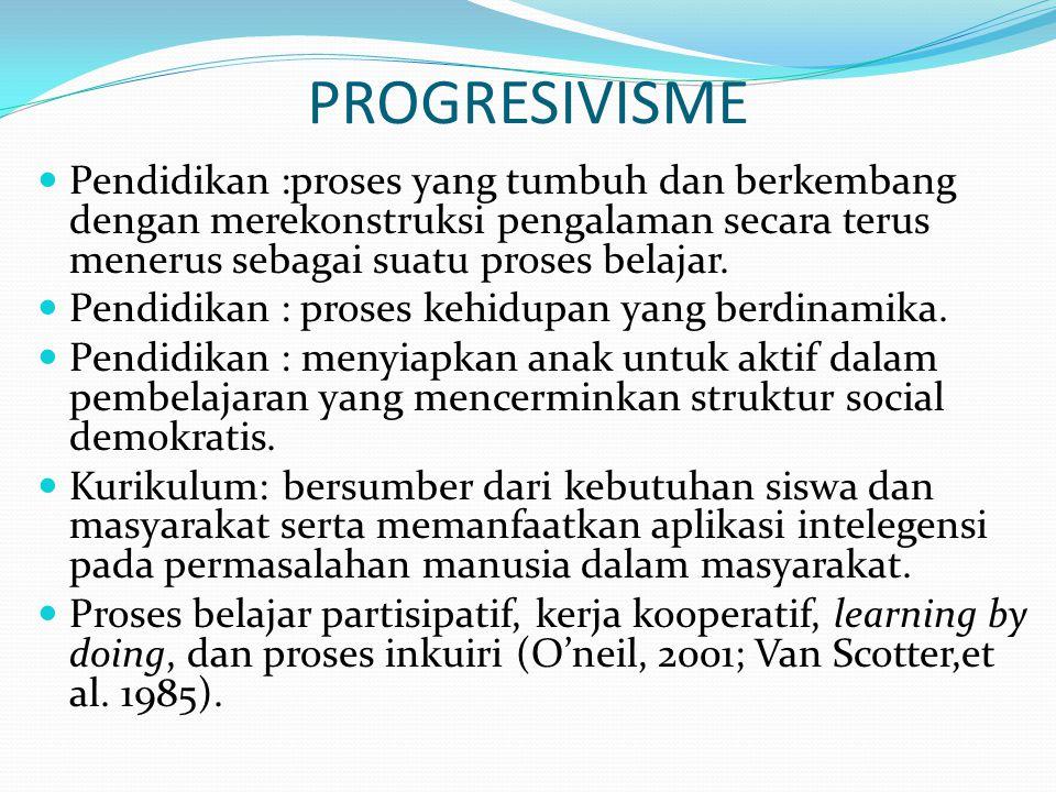 PROGRESIVISME Pendidikan :proses yang tumbuh dan berkembang dengan merekonstruksi pengalaman secara terus menerus sebagai suatu proses belajar.