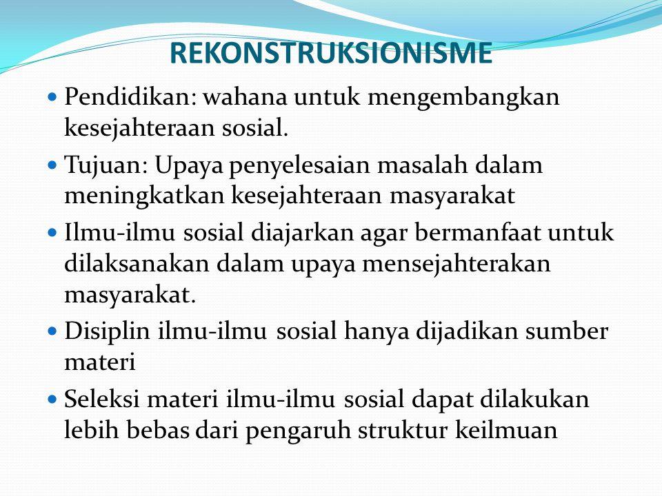 REKONSTRUKSIONISME Pendidikan: wahana untuk mengembangkan kesejahteraan sosial.