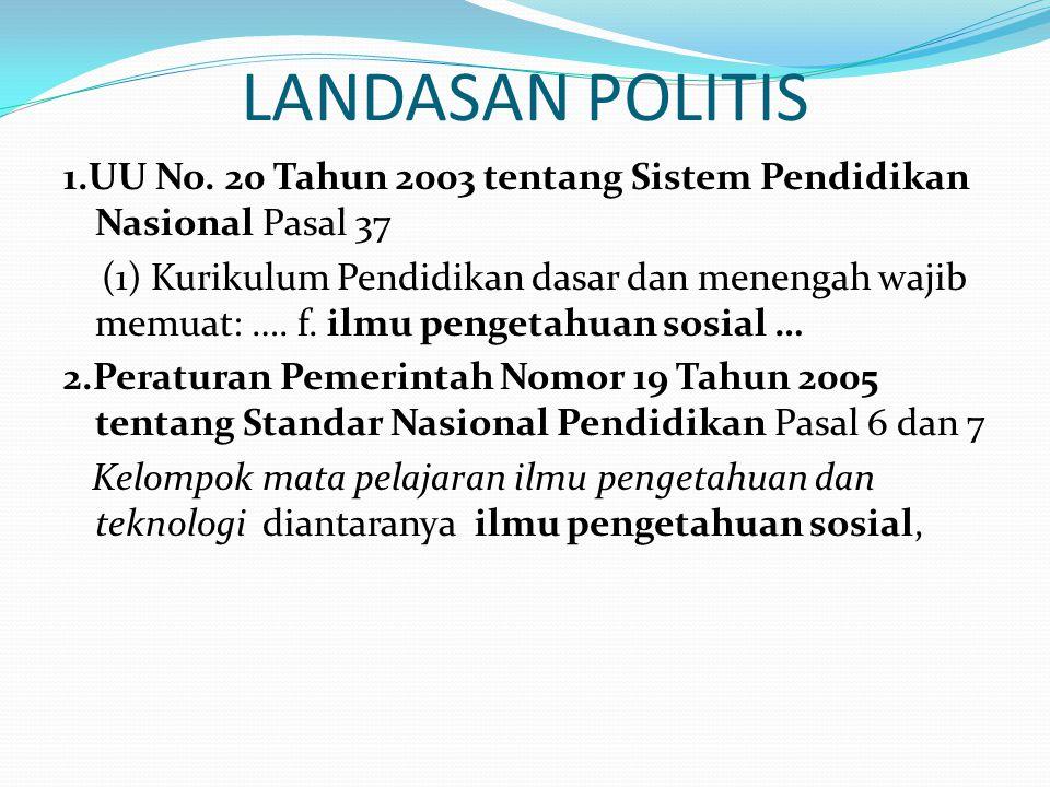 LANDASAN POLITIS 1.UU No. 20 Tahun 2003 tentang Sistem Pendidikan Nasional Pasal 37.