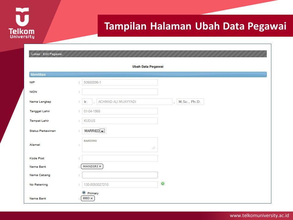 Tampilan Halaman Ubah Data Pegawai