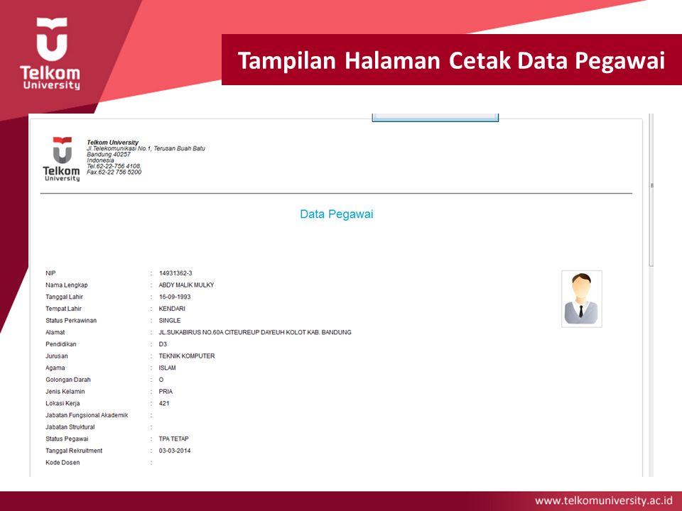 Tampilan Halaman Cetak Data Pegawai