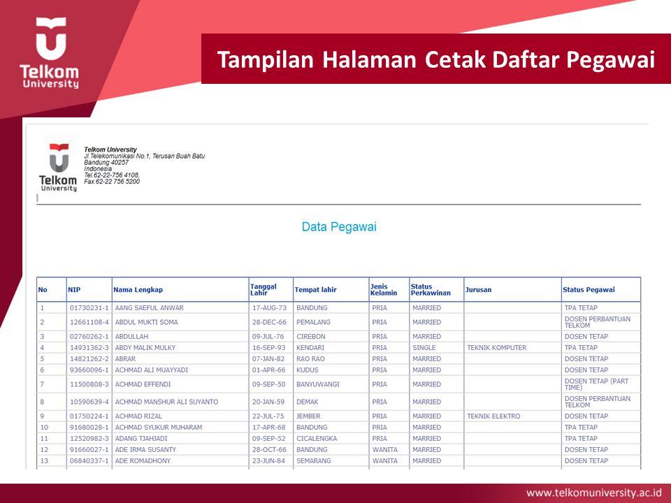 Tampilan Halaman Cetak Daftar Pegawai