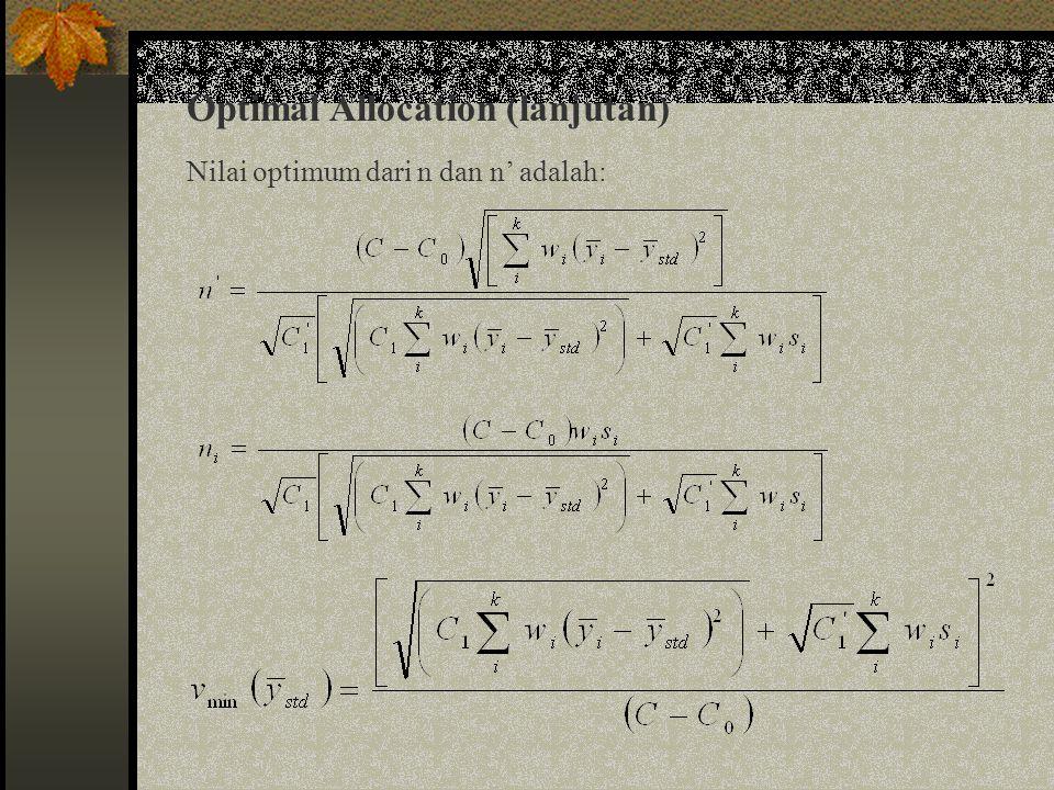 Optimal Allocation (lanjutan)