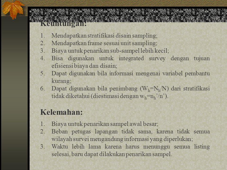 Keuntungan: Kelemahan: Mendapatkan stratifikasi disain sampling;