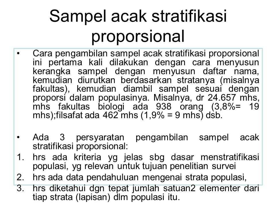 Sampel acak stratifikasi proporsional
