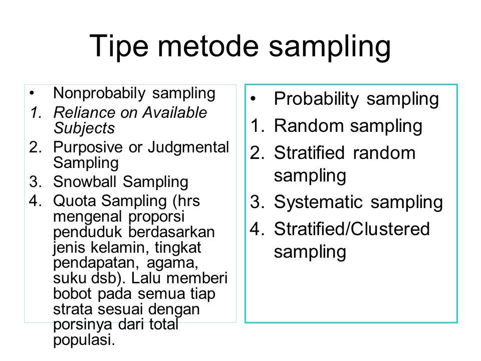 Tipe metode sampling Probability sampling Random sampling