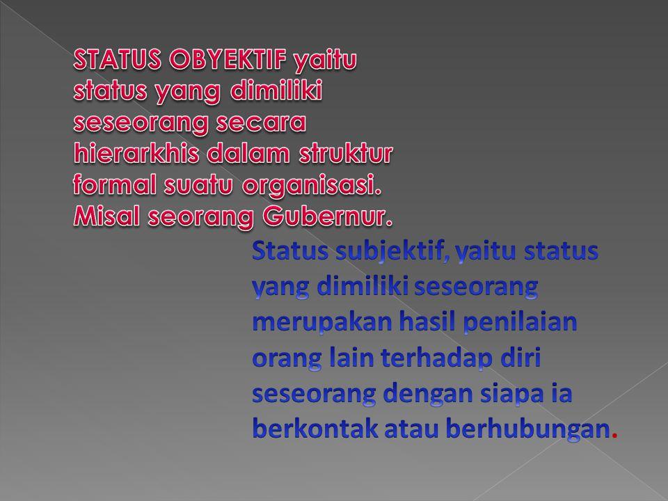 STATUS OBYEKTIF yaitu status yang dimiliki seseorang secara hierarkhis dalam struktur formal suatu organisasi. Misal seorang Gubernur.