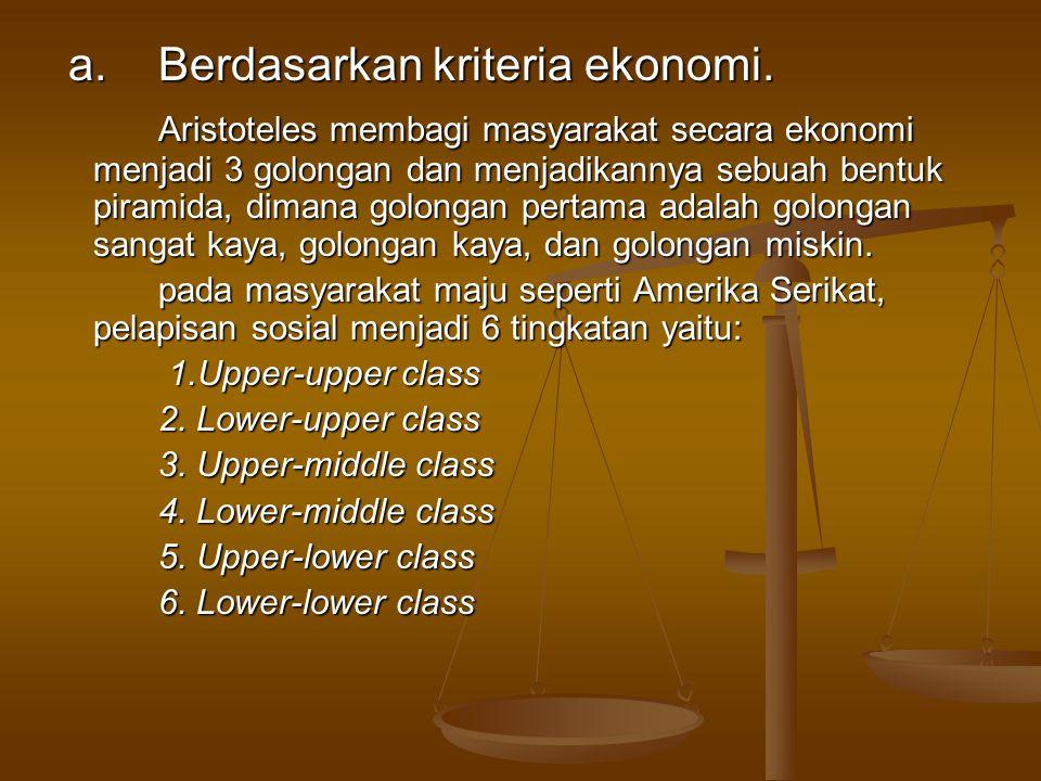 a. Berdasarkan kriteria ekonomi.