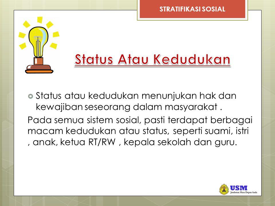 Status Atau Kedudukan Status atau kedudukan menunjukan hak dan kewajiban seseorang dalam masyarakat .