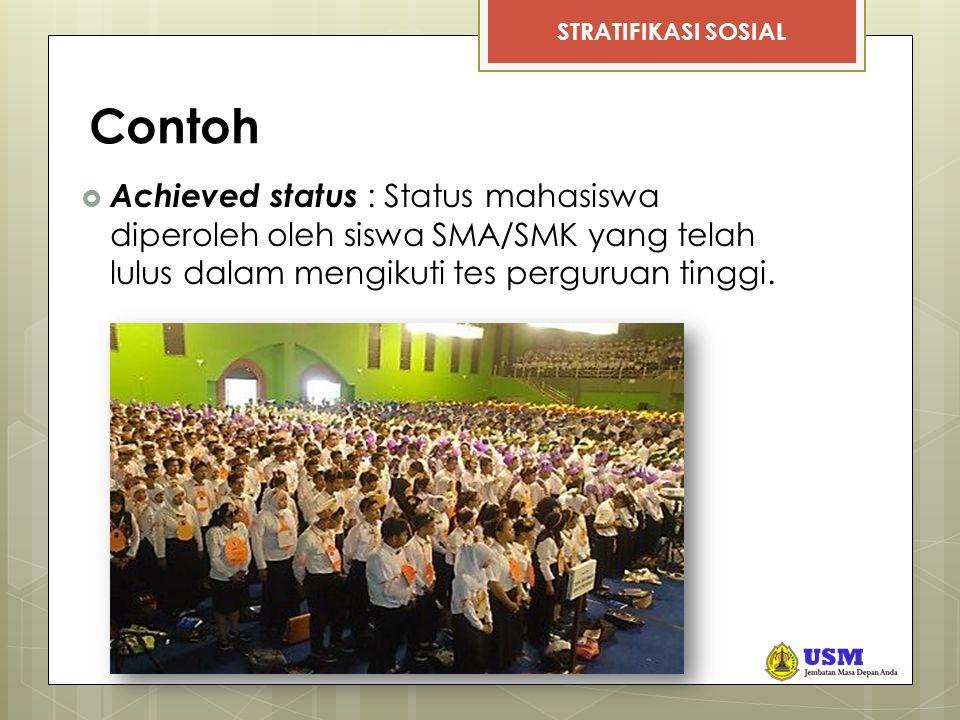 Contoh Achieved status : Status mahasiswa diperoleh oleh siswa SMA/SMK yang telah lulus dalam mengikuti tes perguruan tinggi.