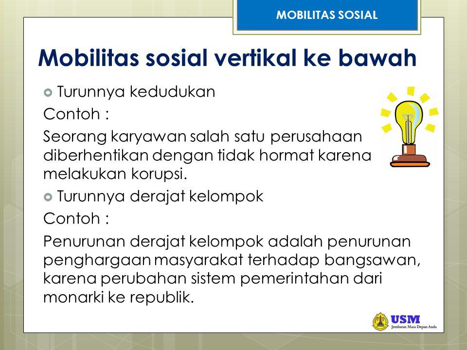 Mobilitas sosial vertikal ke bawah