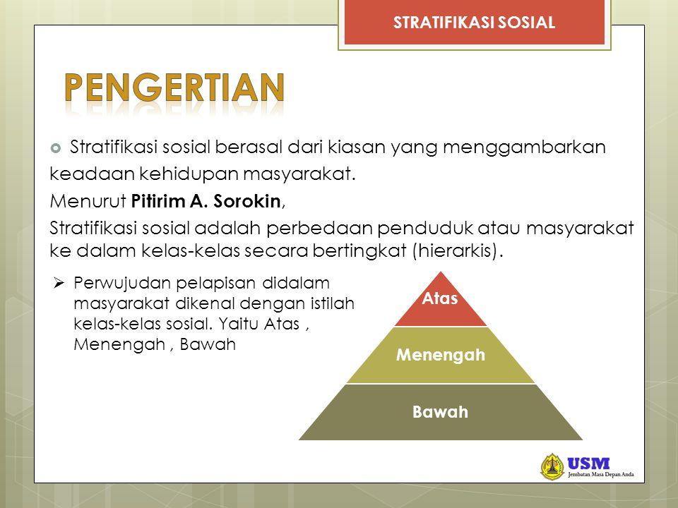 PENGERTIAN Stratifikasi sosial berasal dari kiasan yang menggambarkan