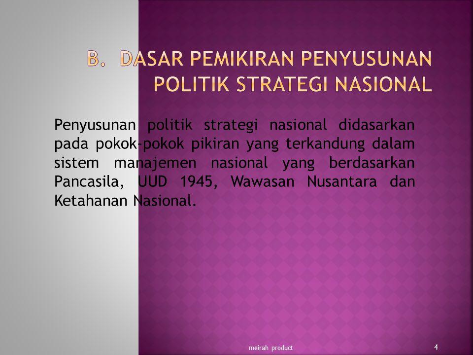 B. DASAR PEMIKIRAN PENYUSUNAN POLITIK STRATEGI NASIONAL