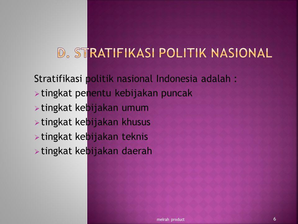 D. STRATIFIKASI POLITIK NASIONAL