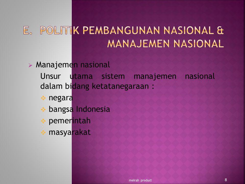 E. POLITIK PEMBANGUNAN NASIONAL & MANAJEMEN NASIONAL