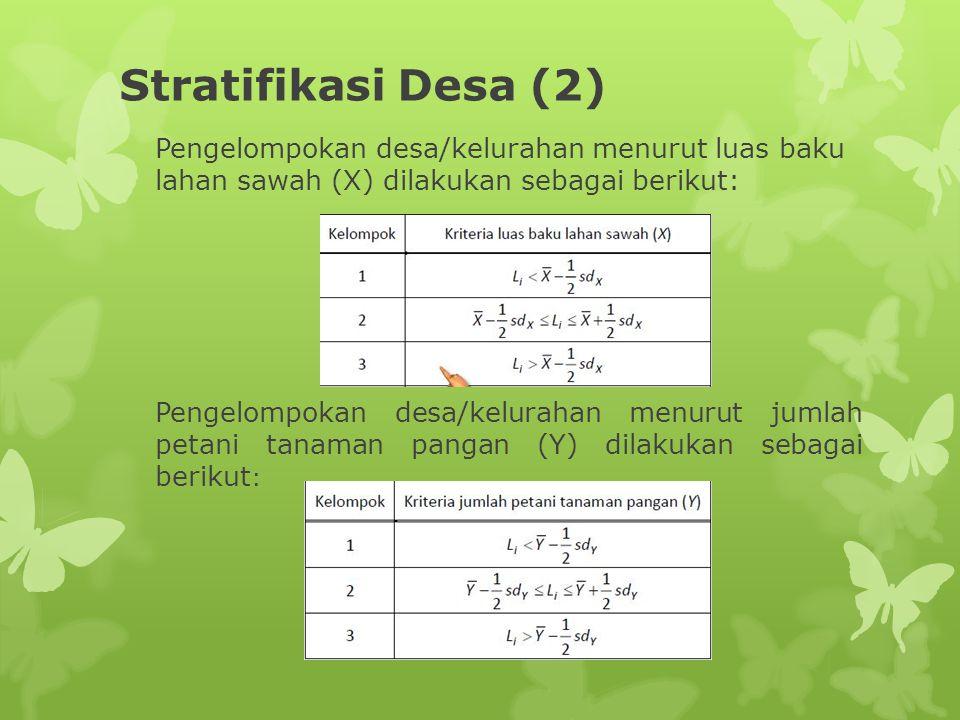 Stratifikasi Desa (2) Pengelompokan desa/kelurahan menurut luas baku lahan sawah (X) dilakukan sebagai berikut: