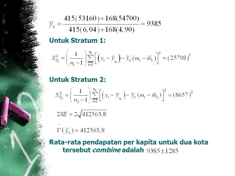 Untuk Stratum 1: Untuk Stratum 2: Rata-rata pendapatan per kapita untuk dua kota tersebut combine adalah
