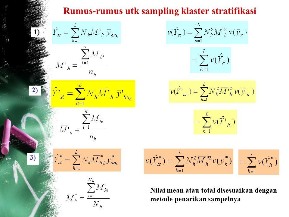 Rumus-rumus utk sampling klaster stratifikasi