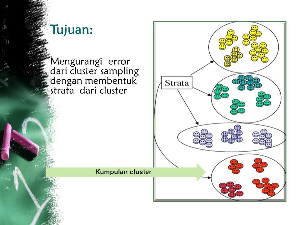 Tujuan: Mengurangi error dari cluster sampling dengan membentuk strata dari cluster.