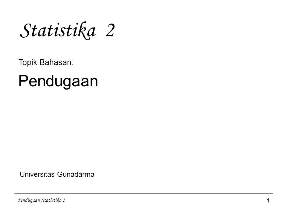 Statistika 2 Pendugaan Topik Bahasan: Universitas Gunadarma