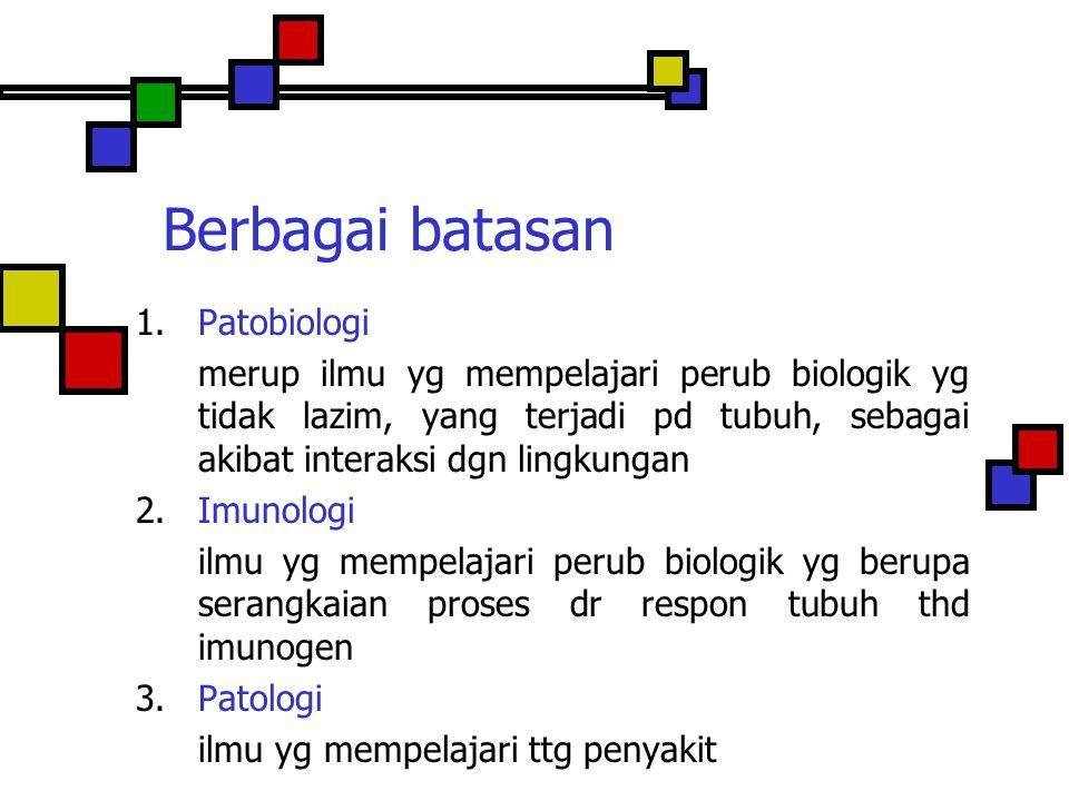 Berbagai batasan 1. Patobiologi