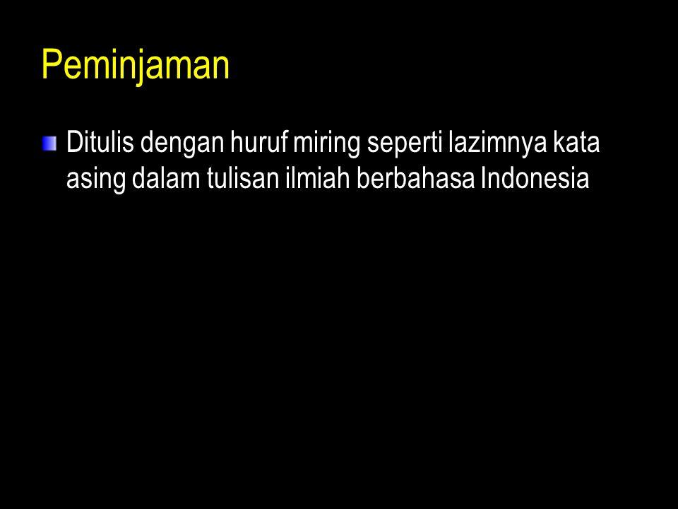 Peminjaman Ditulis dengan huruf miring seperti lazimnya kata asing dalam tulisan ilmiah berbahasa Indonesia.