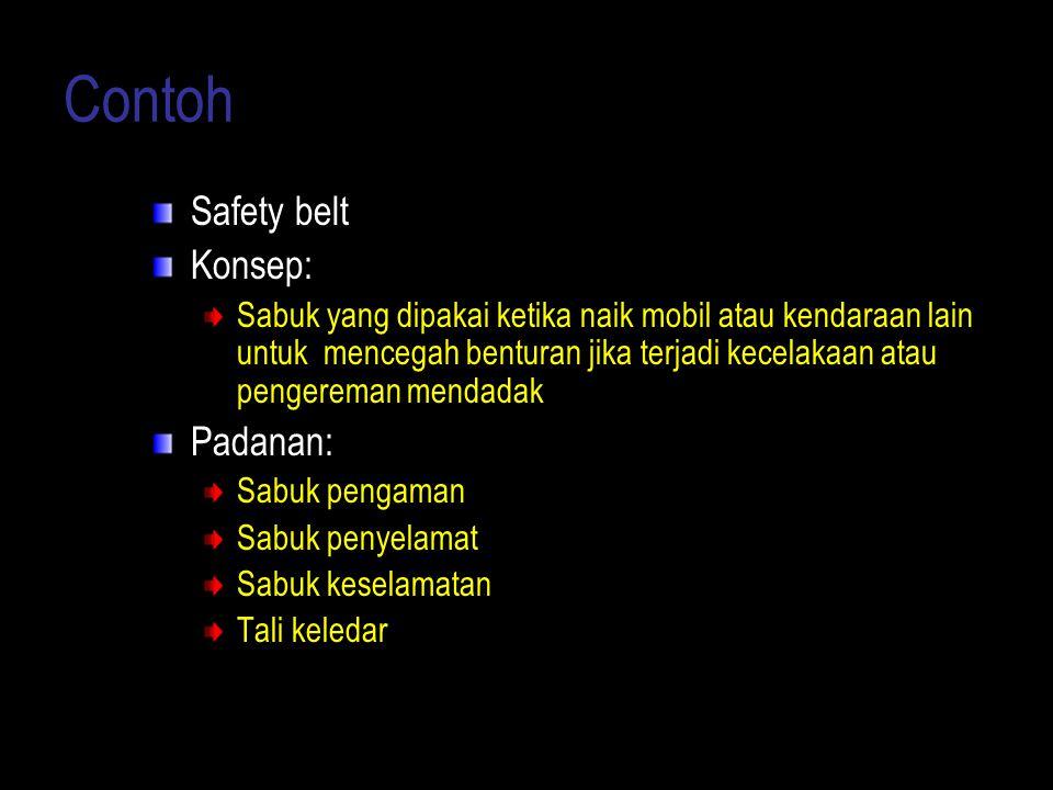 Contoh Safety belt Konsep: Padanan: