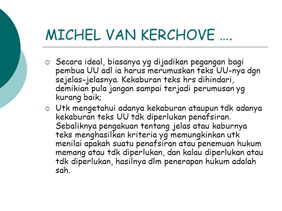MICHEL VAN KERCHOVE ….