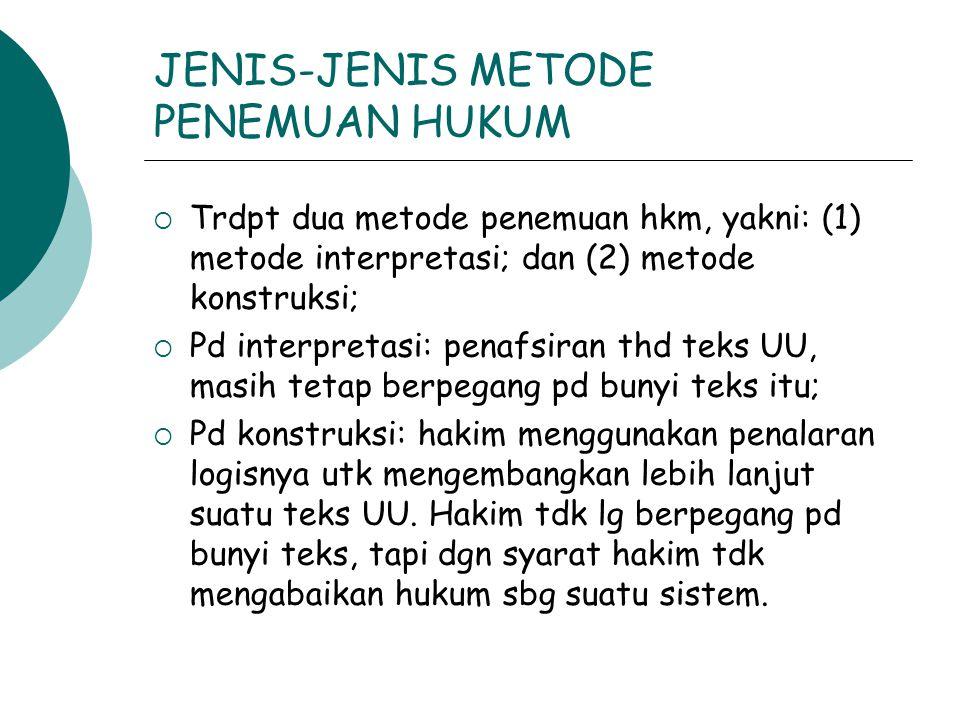 JENIS-JENIS METODE PENEMUAN HUKUM