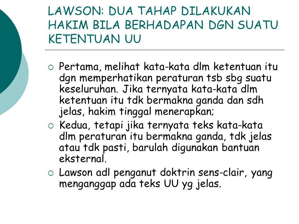 LAWSON: DUA TAHAP DILAKUKAN HAKIM BILA BERHADAPAN DGN SUATU KETENTUAN UU