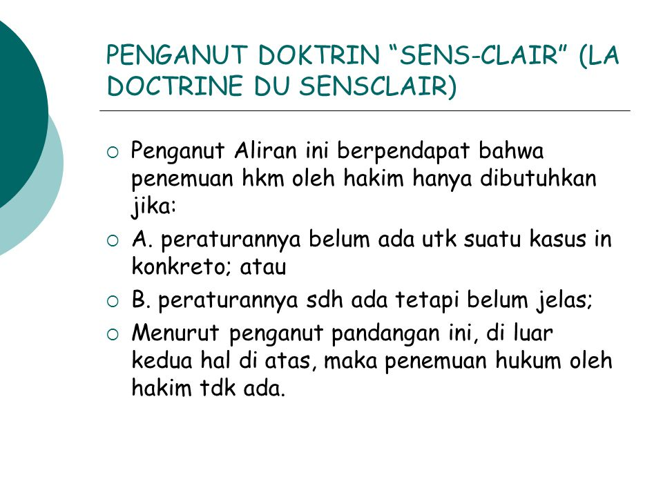 PENGANUT DOKTRIN SENS-CLAIR (LA DOCTRINE DU SENSCLAIR)