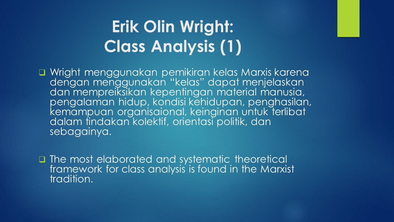 Erik Olin Wright: Class Analysis (1)