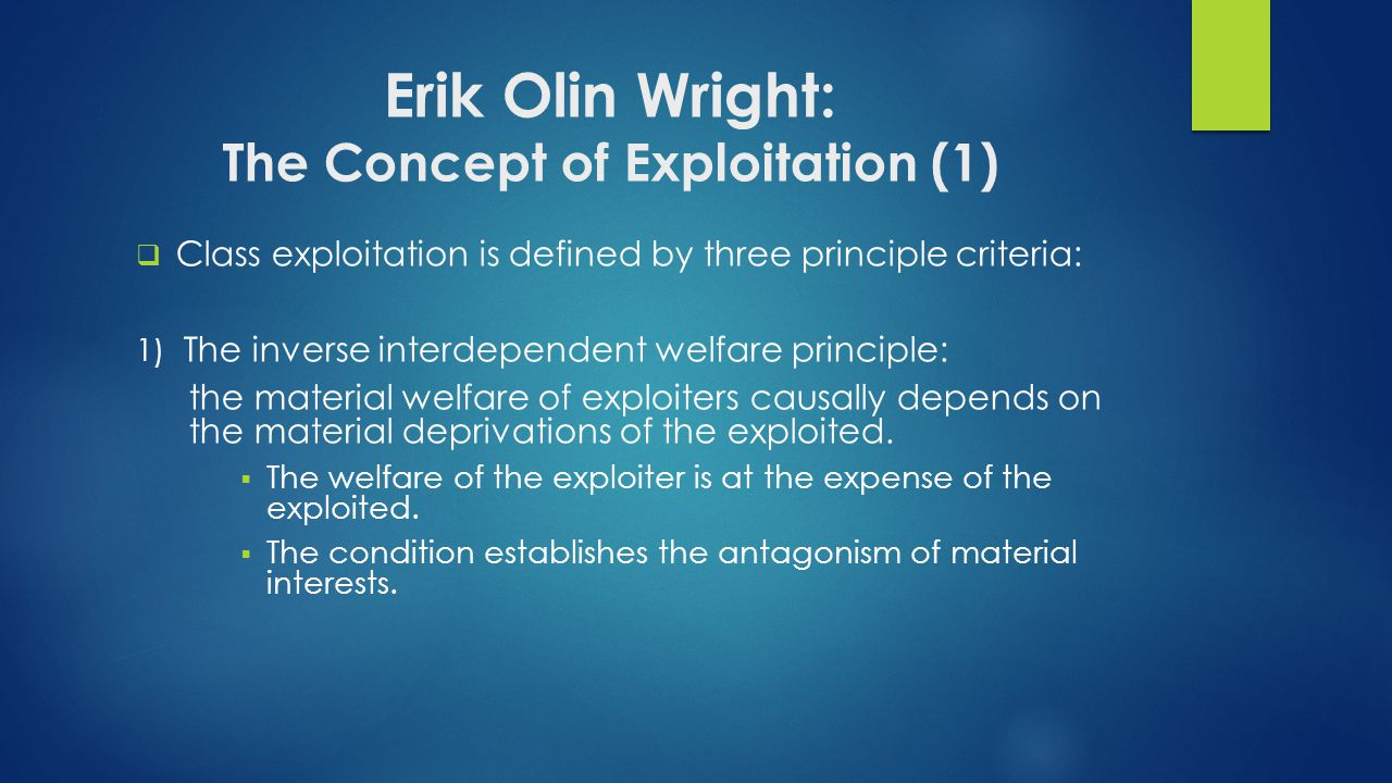 Erik Olin Wright: The Concept of Exploitation (1)