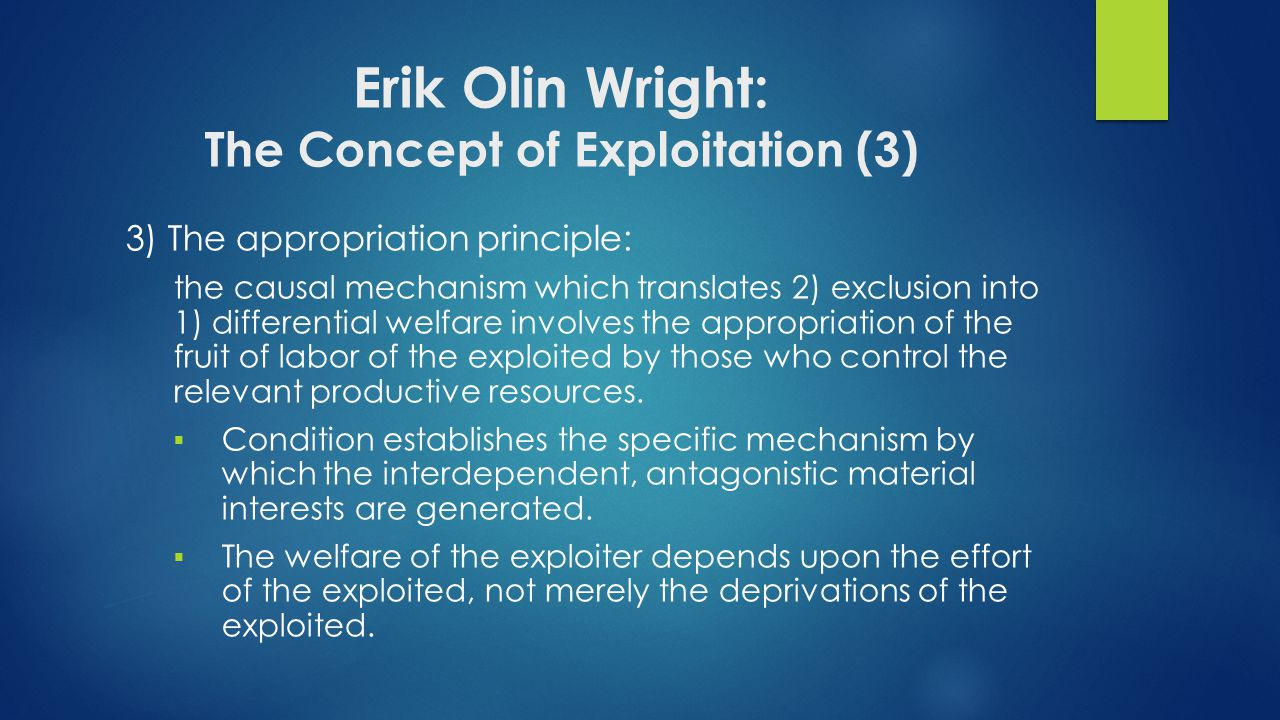 Erik Olin Wright: The Concept of Exploitation (3)
