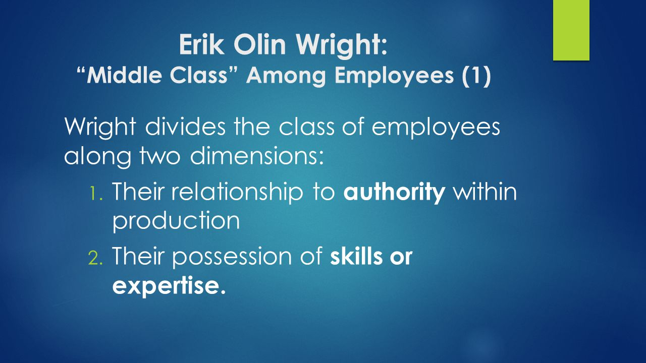 Erik Olin Wright: Middle Class Among Employees (1)