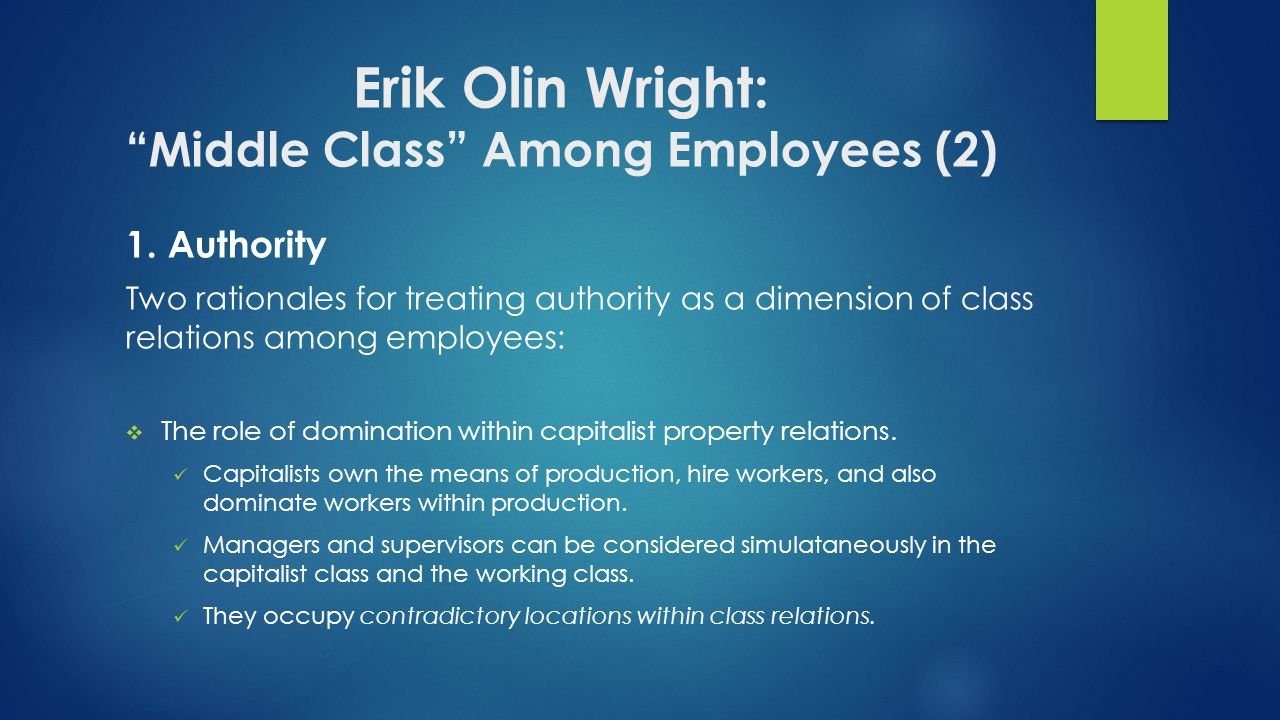 Erik Olin Wright: Middle Class Among Employees (2)