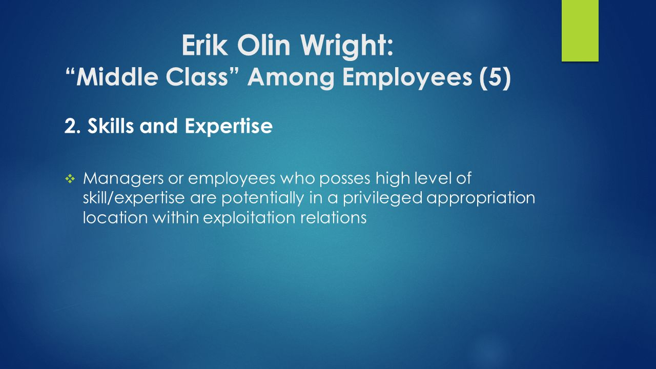 Erik Olin Wright: Middle Class Among Employees (5)