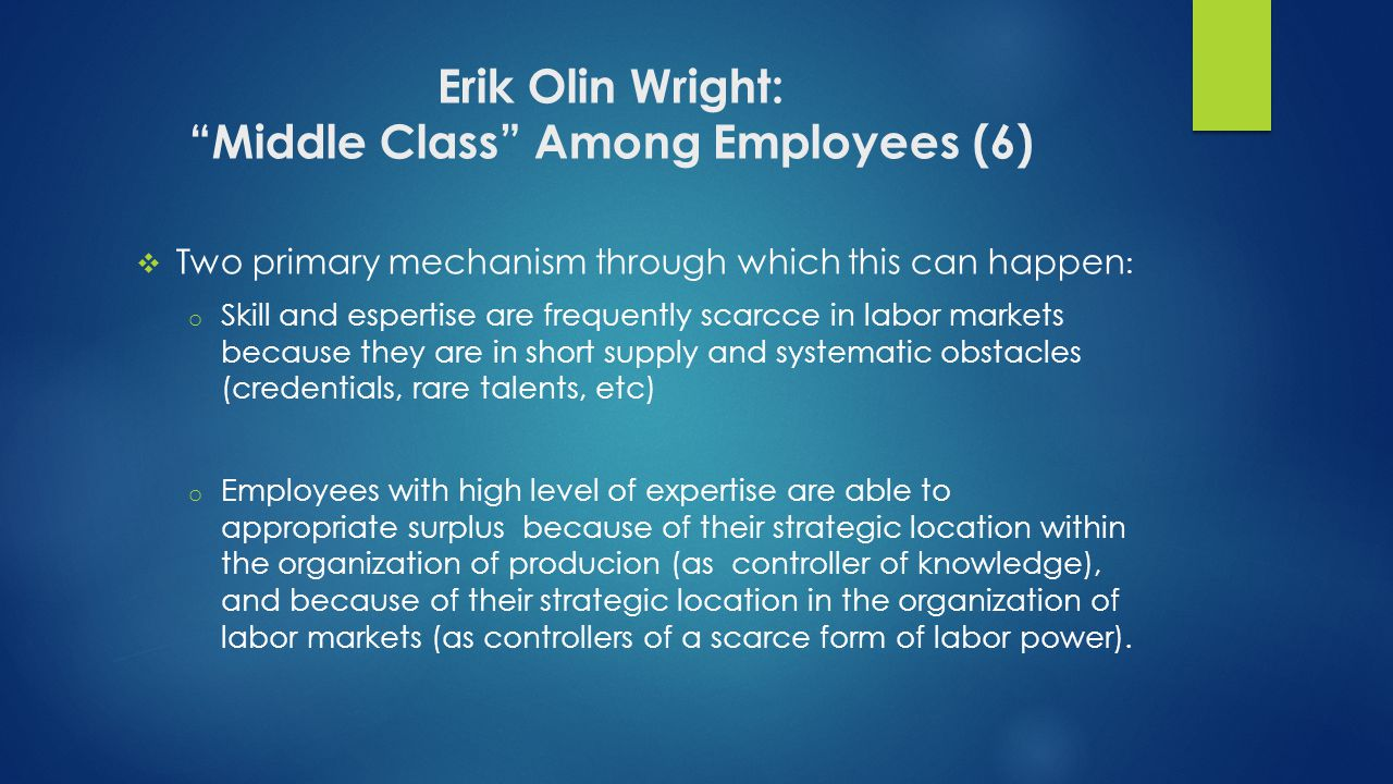 Erik Olin Wright: Middle Class Among Employees (6)