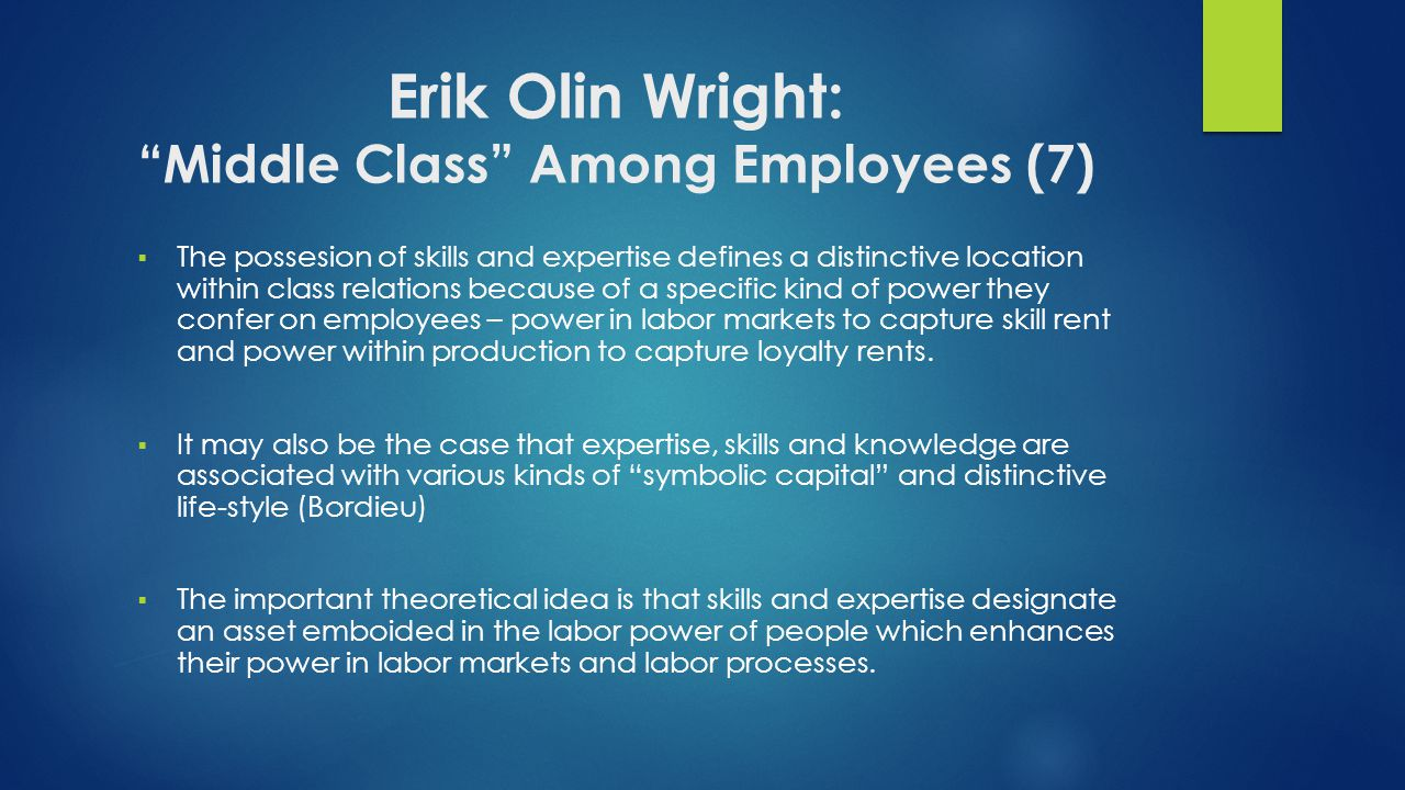 Erik Olin Wright: Middle Class Among Employees (7)