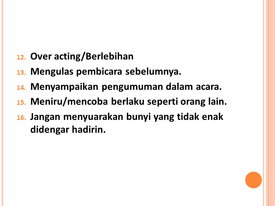 Over acting/Berlebihan